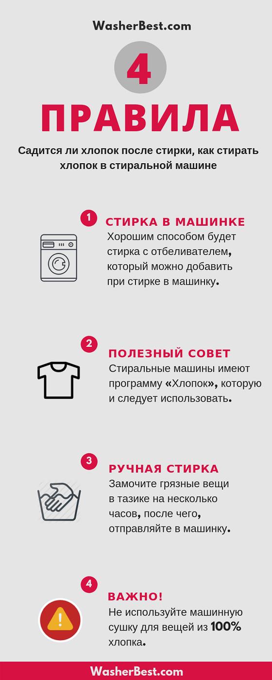 Как стирать хлопок в стиральной машине чтобы не сел: режим, температура