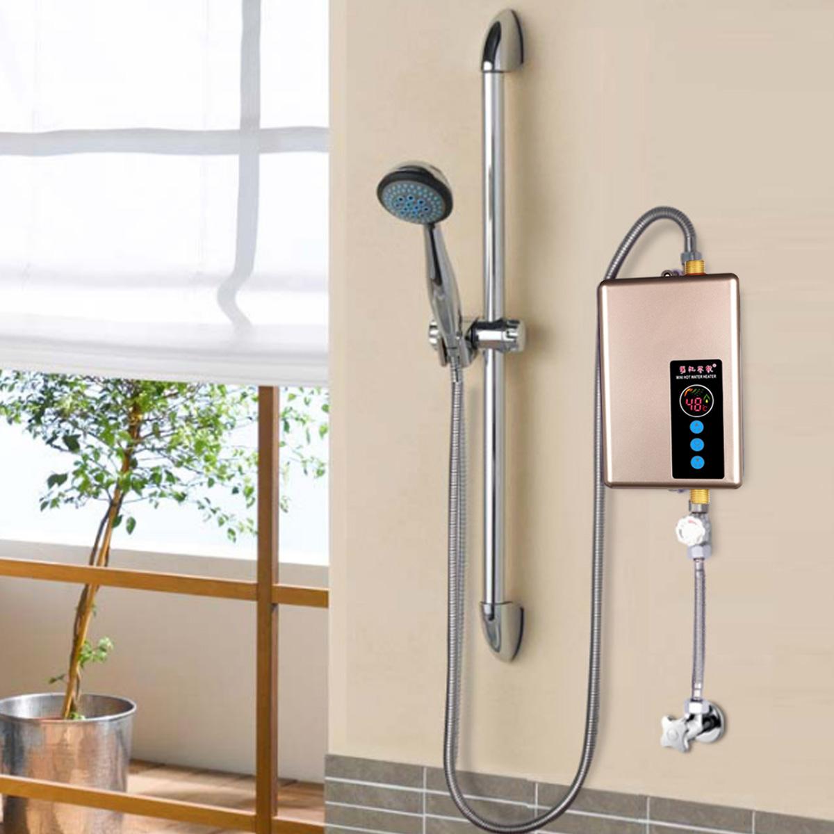 Проточный водонагреватель электрический в душе на дачи