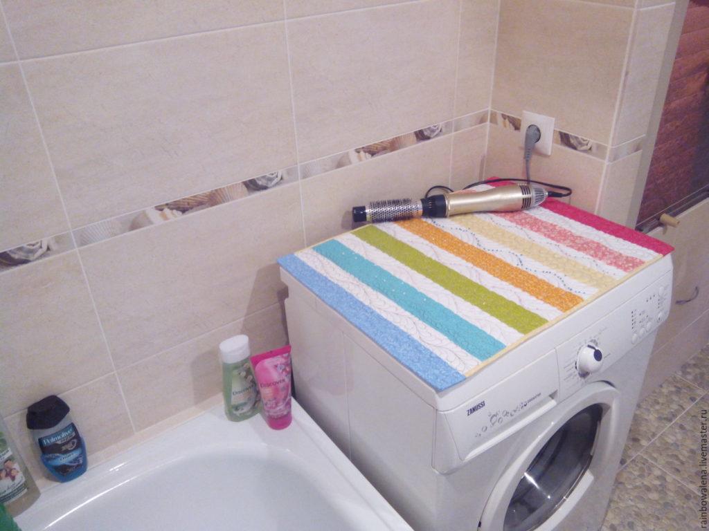 Как стильно накрыть стиральную машину в ванной